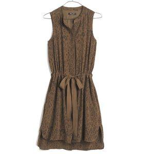 Madewell Silk Playa Dress / Leopard Fade in Green